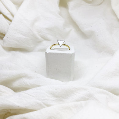 Dainty Triangle Stacking Rings Filled with White Recycled Leather - Size 8 - Gold Band