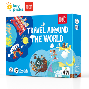 TRAVEL AROUND THE WORLD - DOUBLE-SIDED PUZZLE