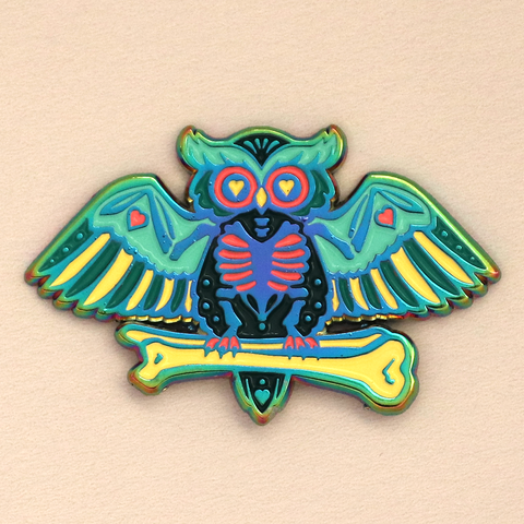 Skelly Owl Halloween Enamel Pin