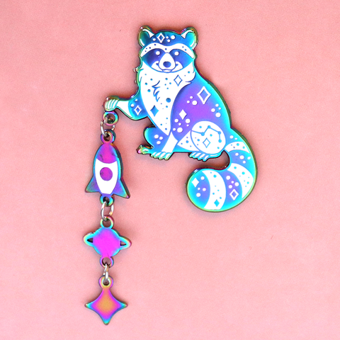 Space Raccoon Enamel Pin with Charm