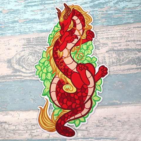 Red Dragon Iron-On Patch