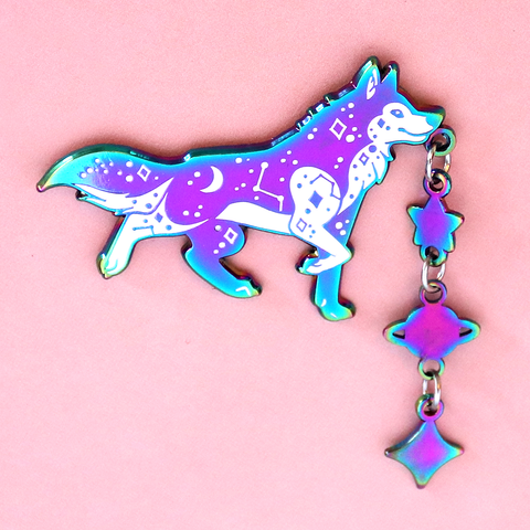 Space Wolf Enamel Pin with Charm