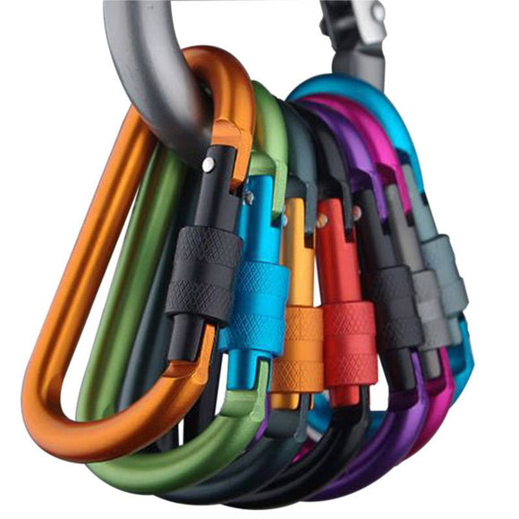 Auto Locking Climbing Carabiner Clip .Aluminum Carabiner D-Ring Key Chain Clip - Third Variety Select