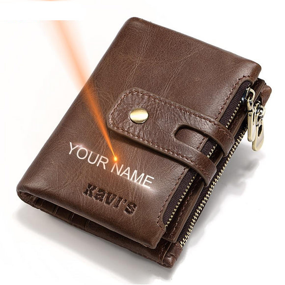 Personalized Engraved Name Leather Men's Wallet. Engraving Name Leather Wallet - Third Variety Select