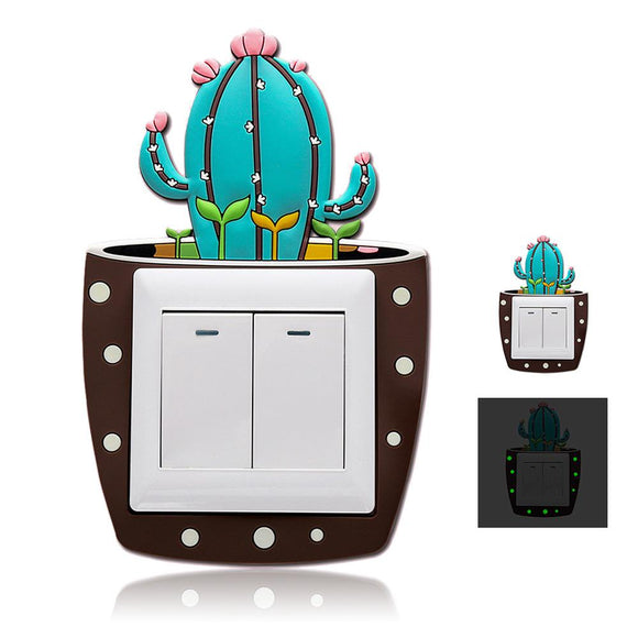 Cute Cartoon 3D Cactus On-off Switch Stickers - Third Variety Select
