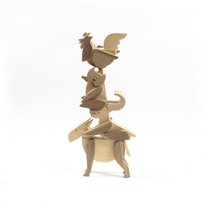 Archabits wooden toys Brementown Musicians set of rooster, cat, dog, donkey 1