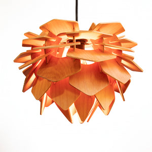 Pogo S wooden lamp mimicking the opening of flower petals by Arhifab