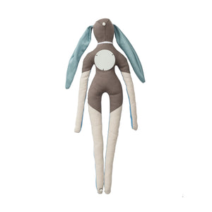 Symbol-doll made of brown fabric in dofferent hues with ceramic application
