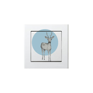Frantaagi lightswitch with deer with blue background motive