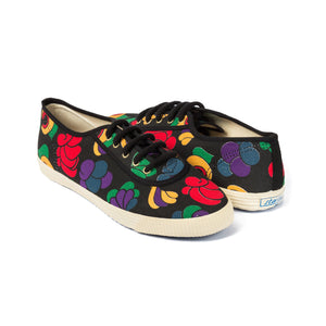 Startas Frida - black cotton sneakers with colourful Mexican inspired design