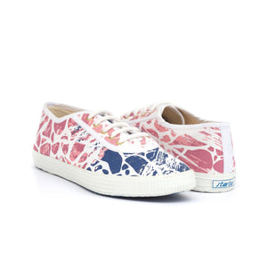 TRUE - white cotton sneakers with blue and pink marble design