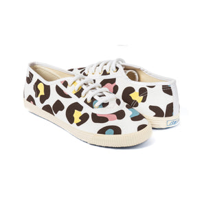 Startas Leonard - white cotton sneakers with colourful leopard design
