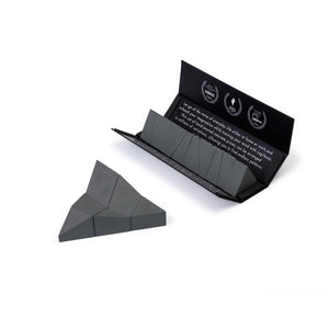 Logideez concrete puzzle, 9 pieces, packaging and triangle. Colour: basalt.