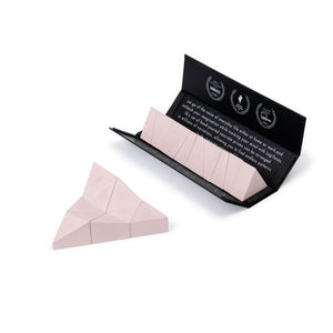 Logideez concrete puzzle, 9 pieces, packaging and triangle. Colour: rose.