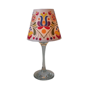 "Wine glass with ""lamp"" shade with typical hungarian Kalocsai design."