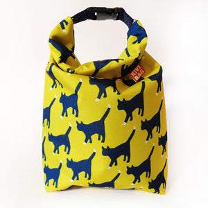 Kivibag yellow lunch bag with cat pattern - front view, closed