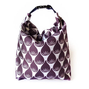 Kivibag lunch bag with purple figue design - front view, closed