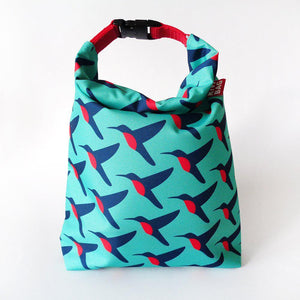 Kivibag lunch bag with hummingbird design - front view, closed