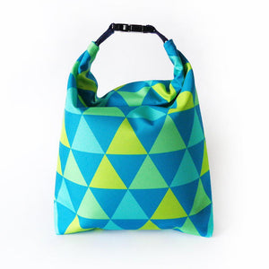 Kivibag lunch bag with blue and yellow triangles design - front view, closed