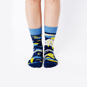 Nebouxii blue and yellow socks with stylized underwater design