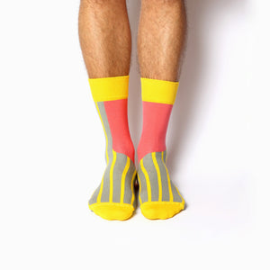 Nebouxii coral socks with yellow and grey lines and accents