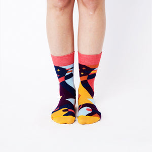 Nebouxii colorful socks - coral, dark blue, yellow, light blue and stylized comet design