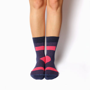 Nebouxii dark purple socks with coral accents and lines