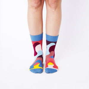"Nebouxii colourful socks in ""melted ice cream"" design - blue, red, yellow, coral, purple"