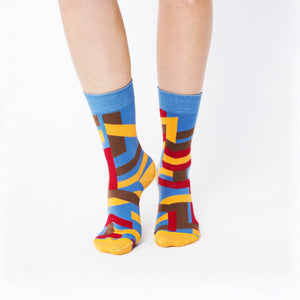 Nebouxii colourful socks with mixed line design in blue, yellow, brown, red