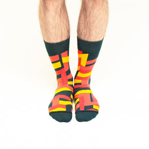 Nebouxii colourful socks with mixed line design in black, yellow, red and coral