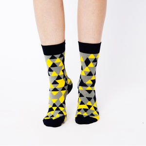 Nebouxii colourful socks with mixed triangle design in black, yellow and grey