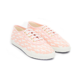 TRUE - pink cotton sneakers with white unicorn pattern