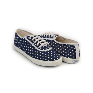 TRUE - dark blue cotton sneakers with white polka dot design