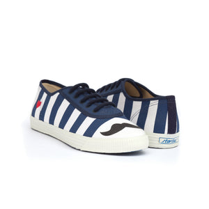 TRUE - blue & white striped cotton sneakers with black moustache and red heart