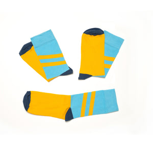 Soseta3 - 3 Socks in one Pair - light blue and yellow