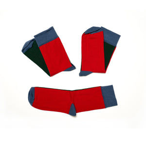Soseta3 - 3 Socks in one Pair - dark blue, green and red
