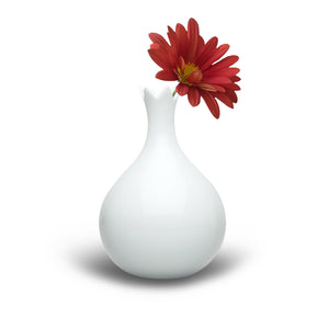 Tablo white onion-shaped vase with flower