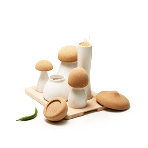 Ubikubi mushroom shaped ceramic container set with 5 containers with cork lid and pepper next to it
