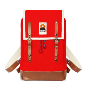 Marta Mini Backpack Red with Leather Straps & Bottom