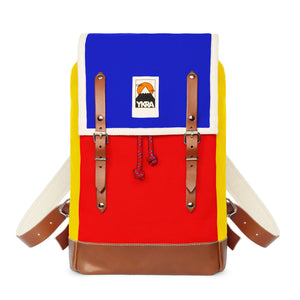Marta Mini Backpack Tricolor - blue, red, yellow - with Leather Straps & Bottom