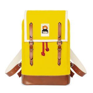 Marta Mini Backpack Yellow with Leather Straps & Bottom