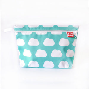 Kivibag beauty bag with white clouds design on light blue background - front view