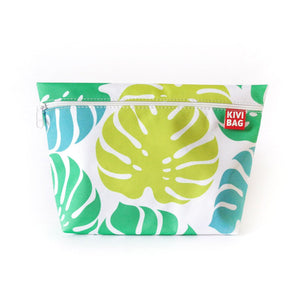 Kivibag beauty bag with zipper with yellow, green and blue palm leaf design - side view