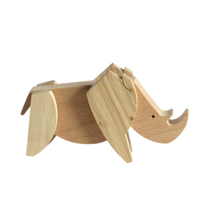 Archabits wooden toys Animal Kingdom - rhino - side