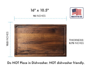 Large Walnut Wood Cutting Board with Juice Groove - 16x10 1