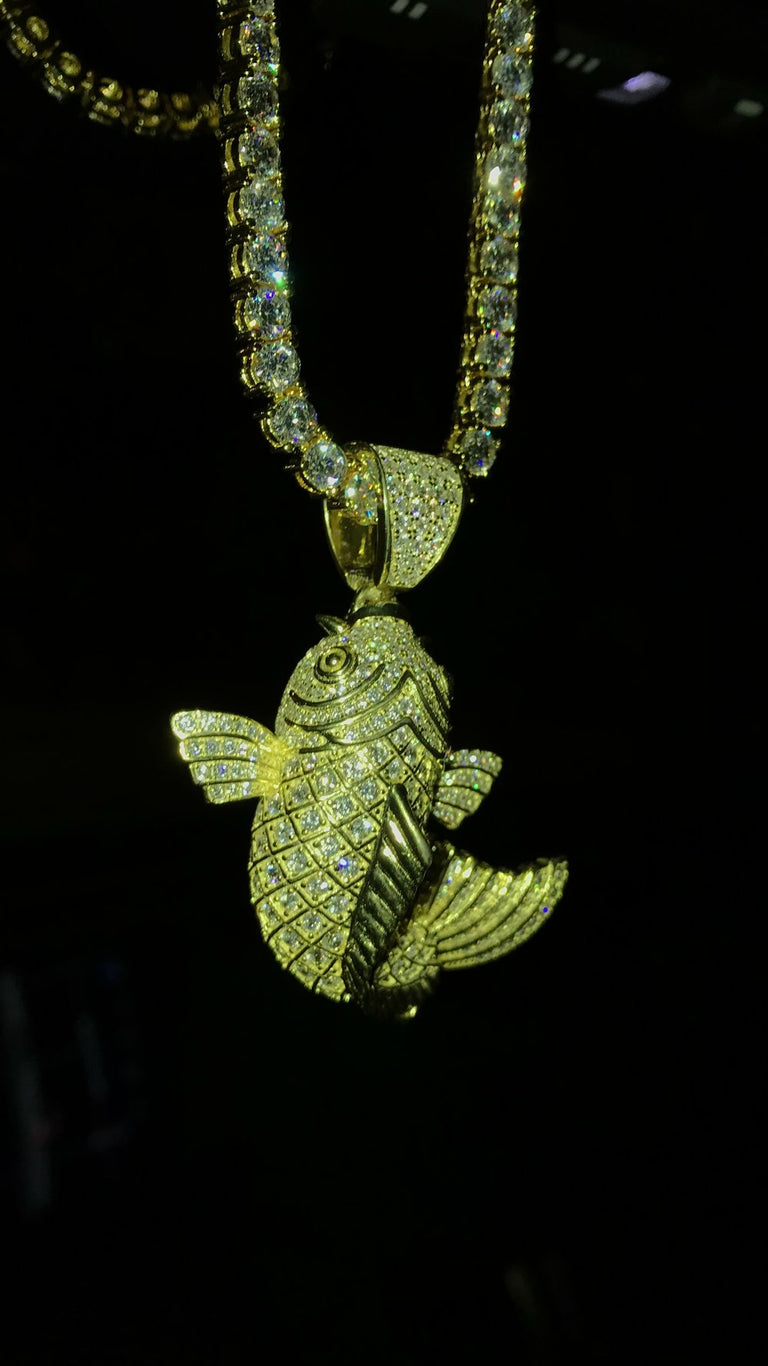 Koi Fish Pendant w/ Diamond Tennis Chain - Vermeil - Gold X