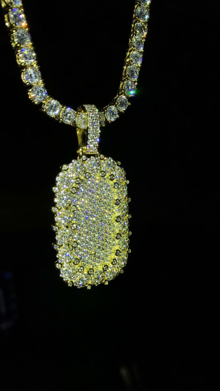 Diamond Encrusted Dog Tag Pendant w/ Diamond Tennis Chain - Vermeil - Gold X