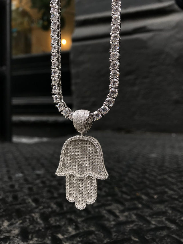 Full Size Hamsa Pendant w/ Diamond Tennis Chain - Sterling Silver - Gold X
