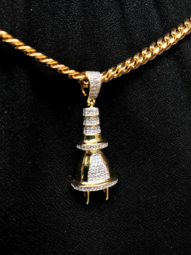 Diamond Flooded Plug Pendant - Gold X