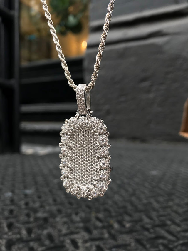 Diamond Encrusted Bezel Dog Tag Pendant - Silver - Gold X